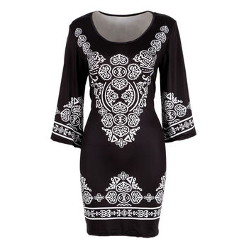 Retro Style Sexy Women Bodycon Dress Floral Printed 3/4 Sleeve Casual Mini Dresses Robe Femme SM6