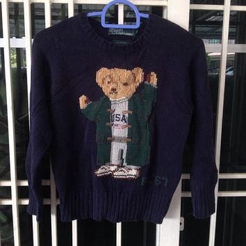 Vintage Kid's Ralph Lauren Polo Bear USA RL'67 Navy Blue Cotton Sweatshirt Pullover Ju