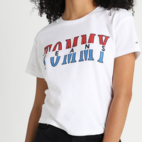 Tommy Jeans Fashion Women Tee Contrast Word B-KWKWM White