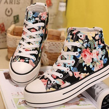 Fashion printing sweet thick canvas shoes 3198CZ