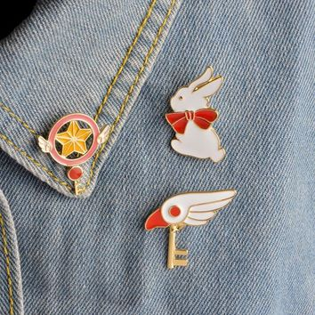 Trendy Cute Star Stick Magic Wand Bird Head Rabbit Brooch for Girls Denim Jacket Pin Uniform Badge Fashion Japanese Animation Jewelry AT_94_13