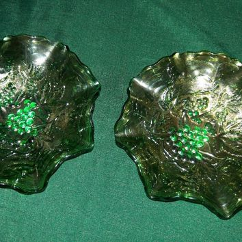 "Carnival Glass, Harvest Grape Size: 8.2"" Across, 2"" high (2 available)"