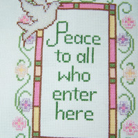 Mother's Day Completed Cross Stitch Sampler, Christian Art,  Needlework Wall Art, Beaded Embroidery, Handstitched, Inspirational, Dove