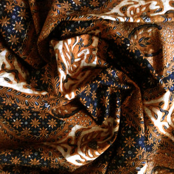 2yd Brown Indonesian Handstamped Batik Fabric-Sogan Brown Color, Cotton, For Sarong, Valentine Gift, Sewing, Yogyakarta-Java Style