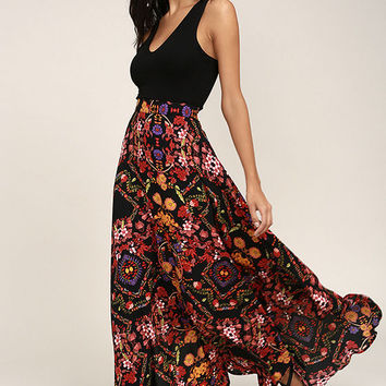 Immensely Talented Black Floral Print Maxi Skirt