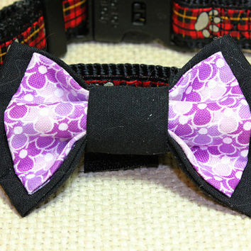 Medium Size Black and Purple Flower Dog Bow Tie Black and Lavander Flower Pattern Double Bowtie Attaches to Dog Collar Fancy Pet Accessory