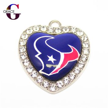 Houston Texans Football Team Crystal Glass Heart Sports Hanging Dangle Charms DIY Women Men Bracelet Necklace Jewelry Accessory