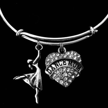 Dance Mom Crystal Heart Expandable Charm Bracelet Adjustable Silver Bangle One Size Fits All Gift Ballet Tap Dance Dancer Jewelry