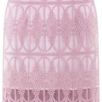 Purple Embroidered Sheer Mesh Midi Skirt