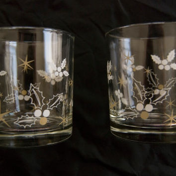 Great for Christmas!! Two Vintage Holly Juice Glasses