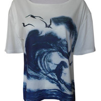 Surfing Trex Tyrannosaurus Rex nautical print top shirt womens ladies Jurasic | eBay