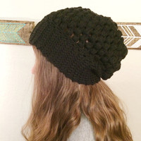 Puff Stitched Slouchy Beanie