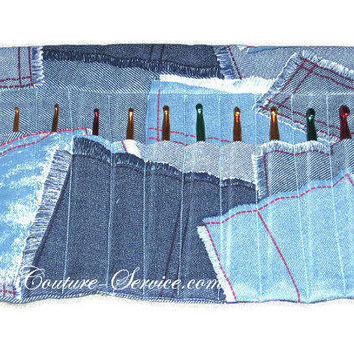 Handmade 10 Pocket Crochet Hook Organizer, Blue