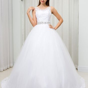 C.V Sheer Neck Illusion Plus Size Ball Gown Wedding Dress vestido de noiva Lace Appliques Crystal Bead Belt Wedding Gown W0096