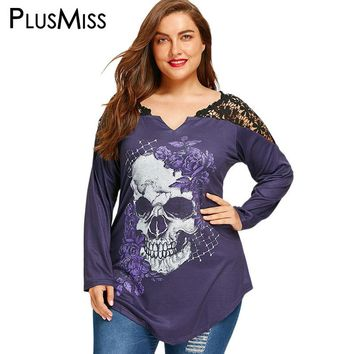 PlusMiss Plus Size 5XL Lace Crochet Skull Print Asymmetrical Top 2017 Graphic Tees Women Sexy T Shirts Long Sleeve Loose T-shirt