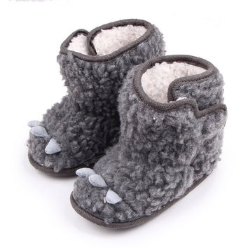 New Super Warm Infantil Baby Boys Girls Little Monster Flock Boots Shoes Kids Prewalker Soft Bottom Anti-slip Crib Snow Shoes NW