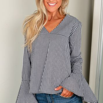 Gingham Flare Sleeve Top Black/White