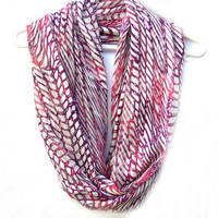 Pink Purple Infinity Scarf. Circle Scarf. Tube Scarf. Loop Scarf. Women Accessories.