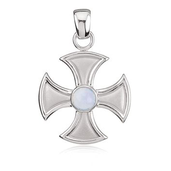 14k White Gold and Chalcedony Maltese Cross Pendant