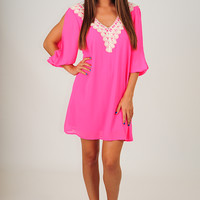 Brighten Up My Day Dress: Bright Pink