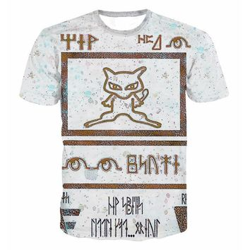 Anime 3D Printed T-shirt Men Of  Cards With Fox Graphic t shirt harajuku fashion style summer clothing off white Tees 5XLKawaii Pokemon go  AT_89_9
