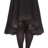Victorian Goth Punk Rockabilly Black Lace Trimmed Full Circle Skirt
