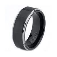 Mens Tungsten Carbide Wedding Band Ring 8mm 5-15 Half Sizes Black Enameled High Polished Beveled Edge Comfort Fit Custom Engraved