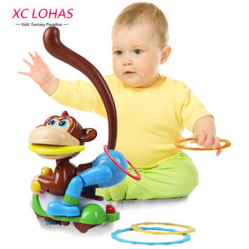 Universal Wheel  Electric Walking Monkey Toy Swing Child Lighting Musical Educational Toys Throw Circle Game Baby Learning Toys