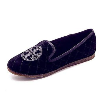 Tory Burch Quilted Billy Slipper, Bright Navy/Black, Size US 6