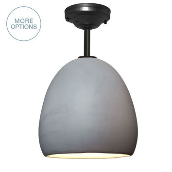 Porcelain Ceramic Matte Grey Clay Pendant Light- Downrod