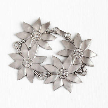 Vintage Sterling Silver Statement Flower Panel Bracelet - Retro 1950s Large Pinwheel Floral Design Repousse Four Panel Summer Jewelry