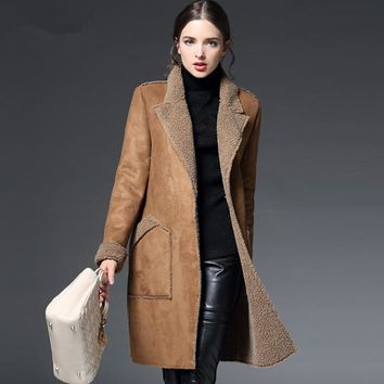 Manteau Femme Winter Jacket Women Suede Lambs Wool Coat Thick Cotton Padded Maxi Coats Long Jacket Female Parka Coat Women C2674