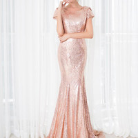 Cheap Short Sleeve O-neck Champagne Sequined Bridesmaid Gowns Wedding Party Dress Trumpet Mermaid Bridesmaid Dresses