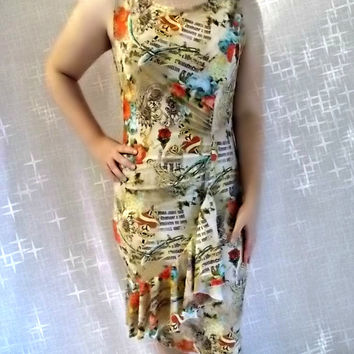 Dress size  large close fitting  mjcreation ready for shipping stretch lycra print