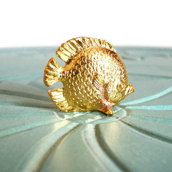 Miniature fish flounder animal brass vintage by VintageMiniatures