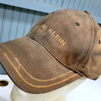 Calvin Klein NY Genuinely Destroyed Distressed Strapback Baseball Cap Hat