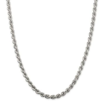 925 Sterling Silver 6.4mm Hollow Rope Chain Necklace, Bracelet or Anklet