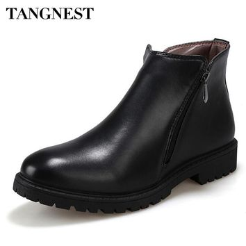 Tangnest Man's Solid Side Zip Ankle Boots Men Handmade PU Leather Shoes Men New Zip Pointed Toe High Shoes Fashion Boots XMX639