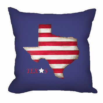 Texas State Throw Pillow in red and white stripes on navy blue background