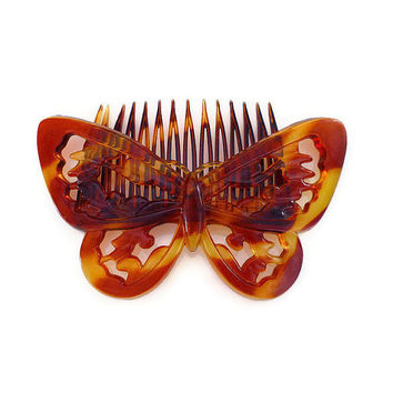 Butterfly Hair Comb, Goody Brand, Tortoise Shell, Lucite Plastic, Boho Chic, Vintage Accessories