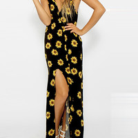 Black Floral Print Plunging V-Neckline Bare Back Maxi Dress with Slit