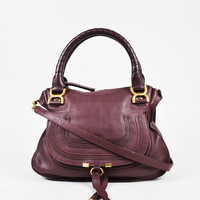 "Chloe ""Plum"" Purple Red Leather Medium Crossbody ""Marcie"" Satchel"