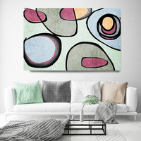 """Vibrant Colorful Abstract-0-39. Mid-Century Modern Green Pink Canvas Art Print, Mid Century Modern Canvas Art Print up to 72"""" by Irena Orlov"""