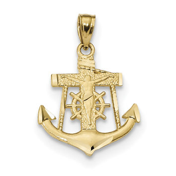 14k Satin Diamond-cut Anchor w/Crucifix Pendant K6329