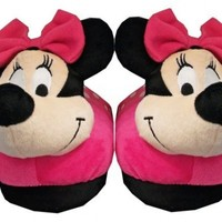 Minnie Mouse Pink Bow Disney Cartoon Plush Womens Slippers:Amazon:Shoes