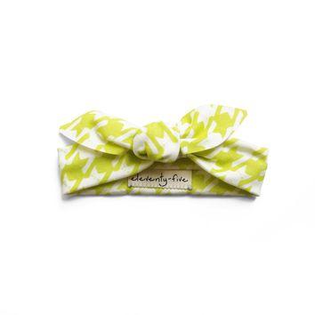Cats-Tooth Organic Stretch Knit Head Tie in Lime Green For Babies