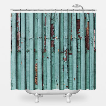 Distressed Turquoise Shower Curtain