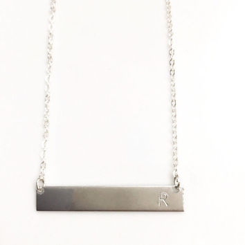 Initial Necklace, Inital Bar Necklace, Valentine's Day Gift, Gift for Mom, Gift for Girlfriend, Monogram Necklace, Nameplate Necklace