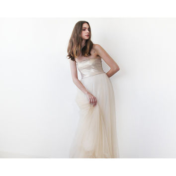 Gold sequin strapless maxi tulle dress