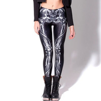Mechanical Bones Black Leggings Digital Print Skull Leging Yoga Fitnes Tight Pant Designed Leggings